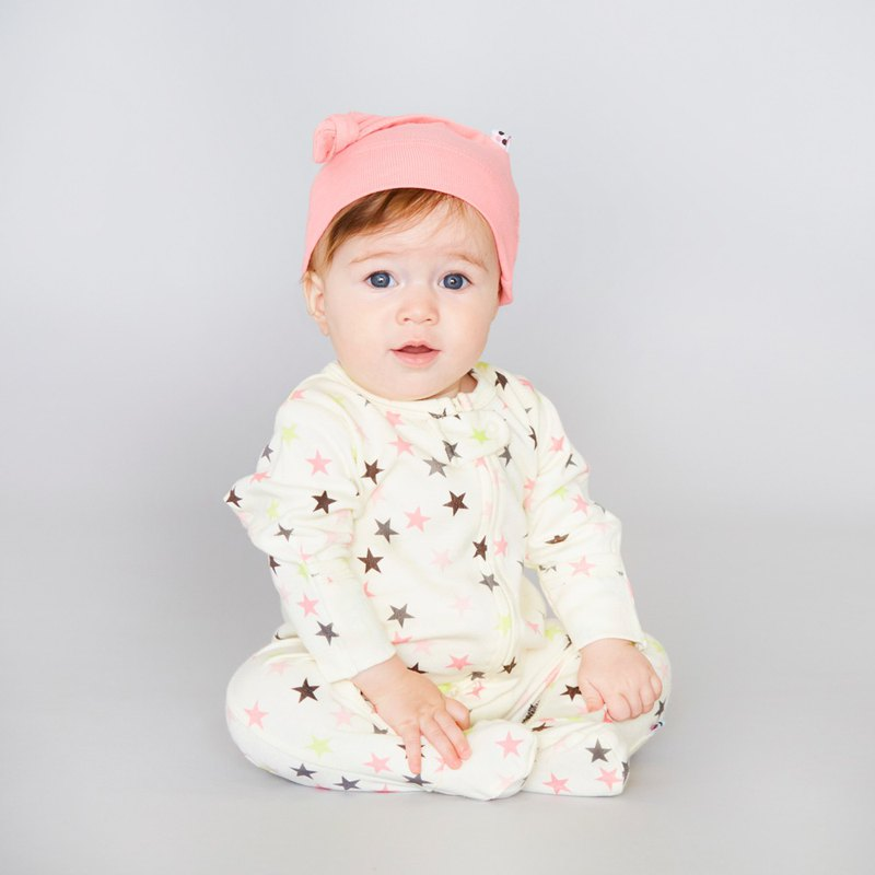 American Babysoy-Organic Cotton Stars Jumpsuit M2_Pink