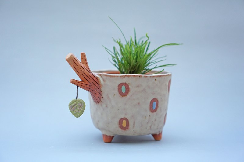 Branch plant pot for cactus , handmade ceramic , pottery