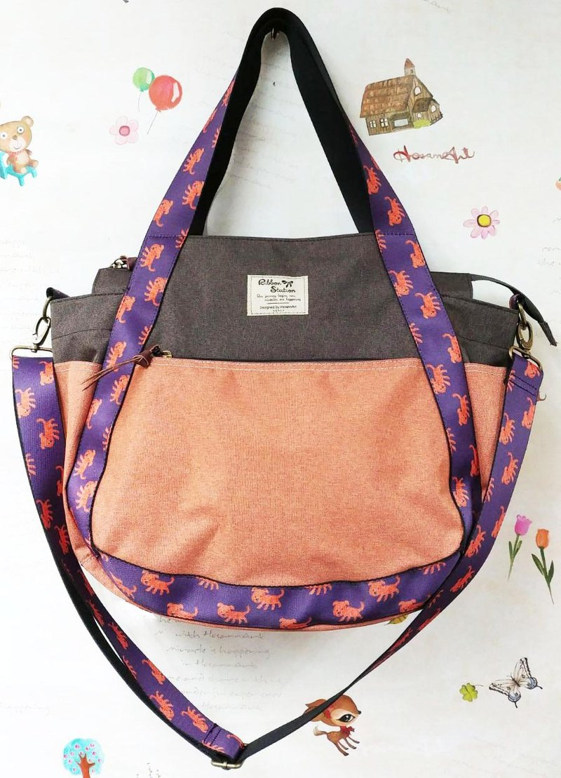BS31101 : Fun little Dogs Strap design orange Casual bag