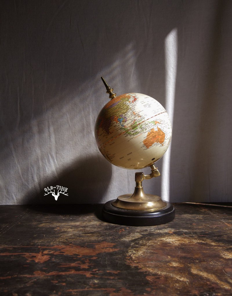 [Old Time OLD-TIME] American old wooden base globe
