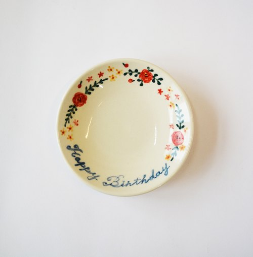 Hand-painted porcelain plates - Happy Birthday Happy Birthday