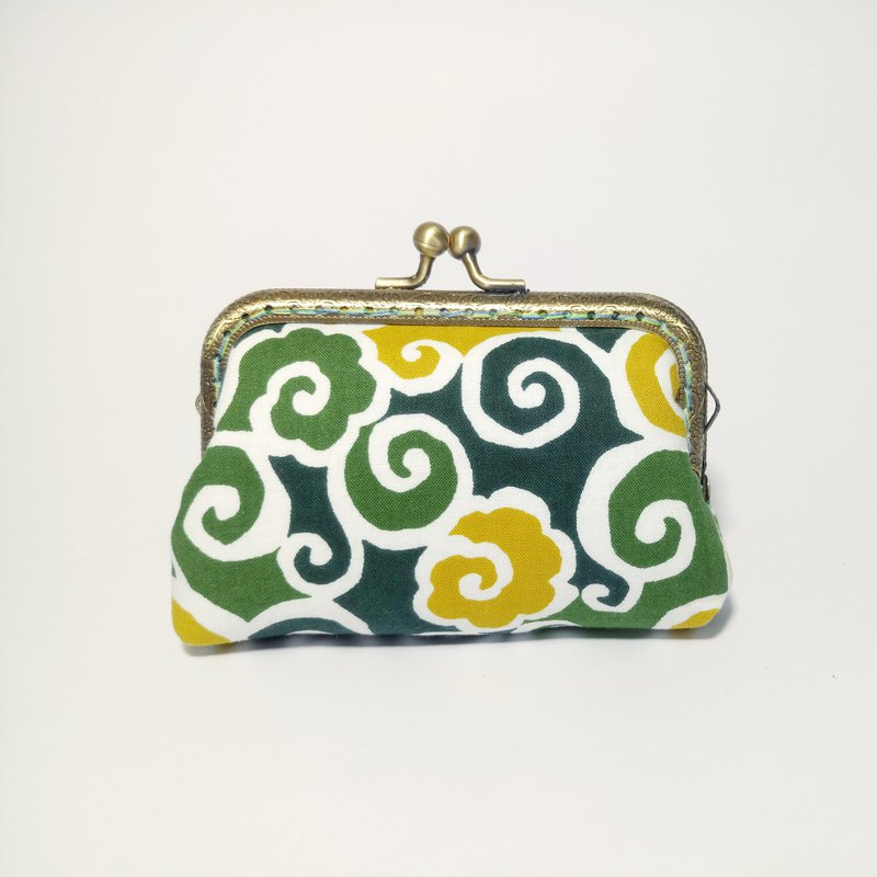 1987 Handmades [Tang grass pattern - Green] mouth gold bag purse clutch