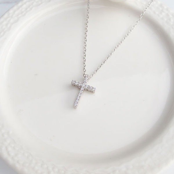 Taiyuan Taipa [Exclusive Selection] Full Diamond Cross Sterling Silver Necklace (can be worn on both sides)