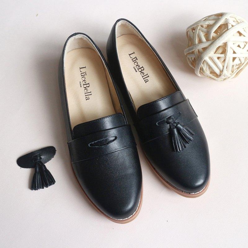 【封蠟青春】兩穿流蘇樂福鞋_黑色