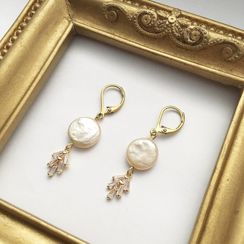 Shining enamel brass earrings freshwater pearl zircon