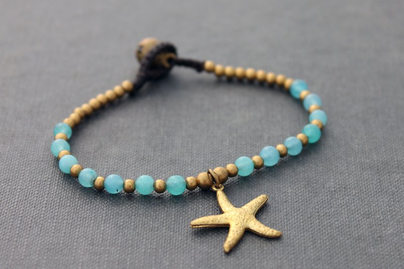 Chalcedony Stone Beaded Bracelets Starfish Cute Animal Charm Bracelets