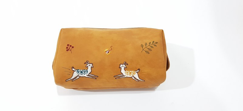 Goat Cosmetic Purse (Tan)