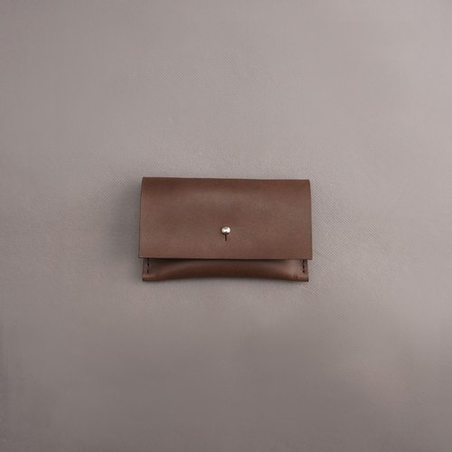Business card holder leather / brown vegetable tanned leather / handmade leather goods