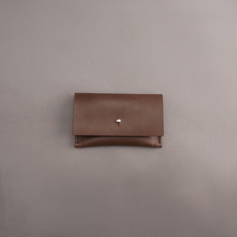 Business card holder leather / brown vegetable tanned leather / handmade leather