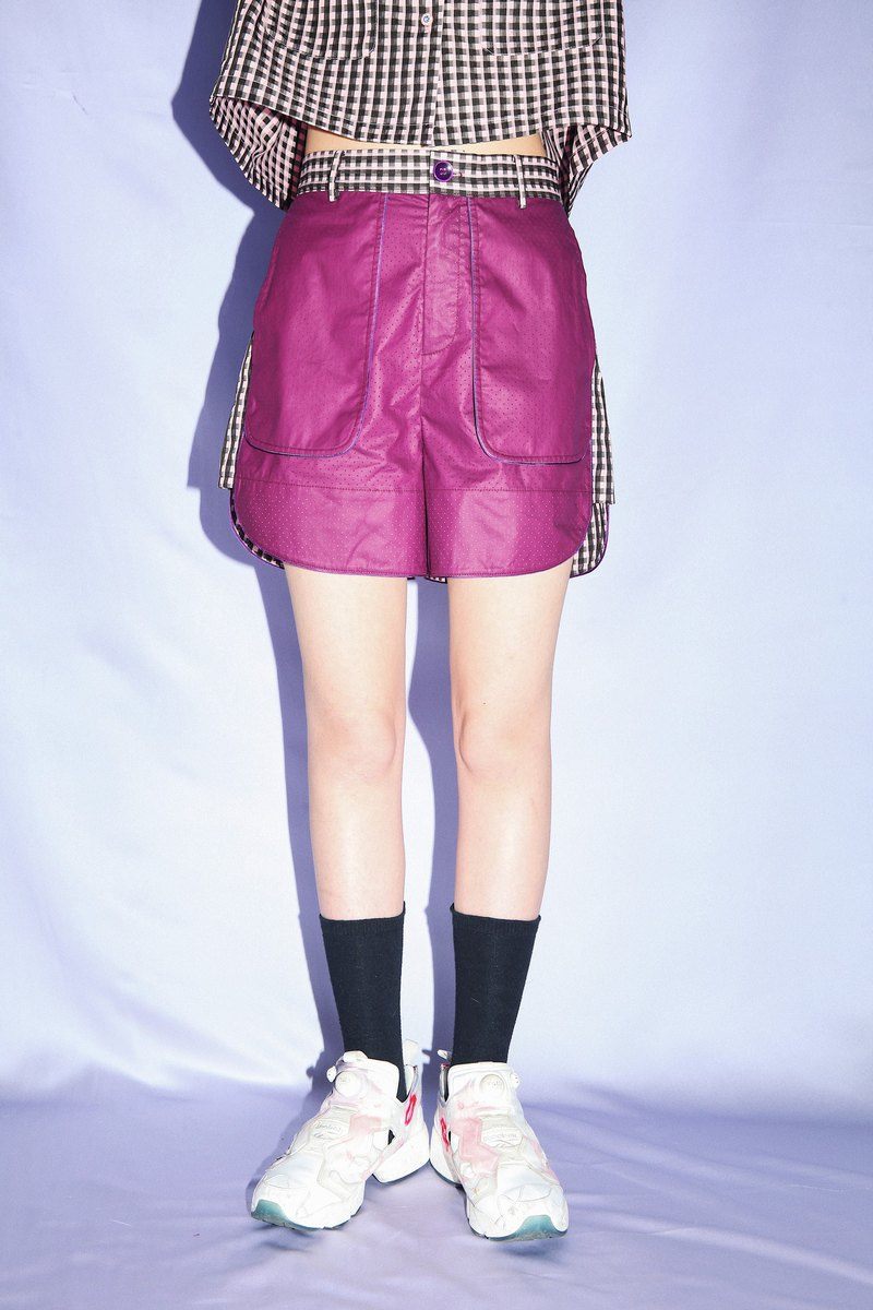 Dark purple stitching black lattice wild summer elastic waist shorts