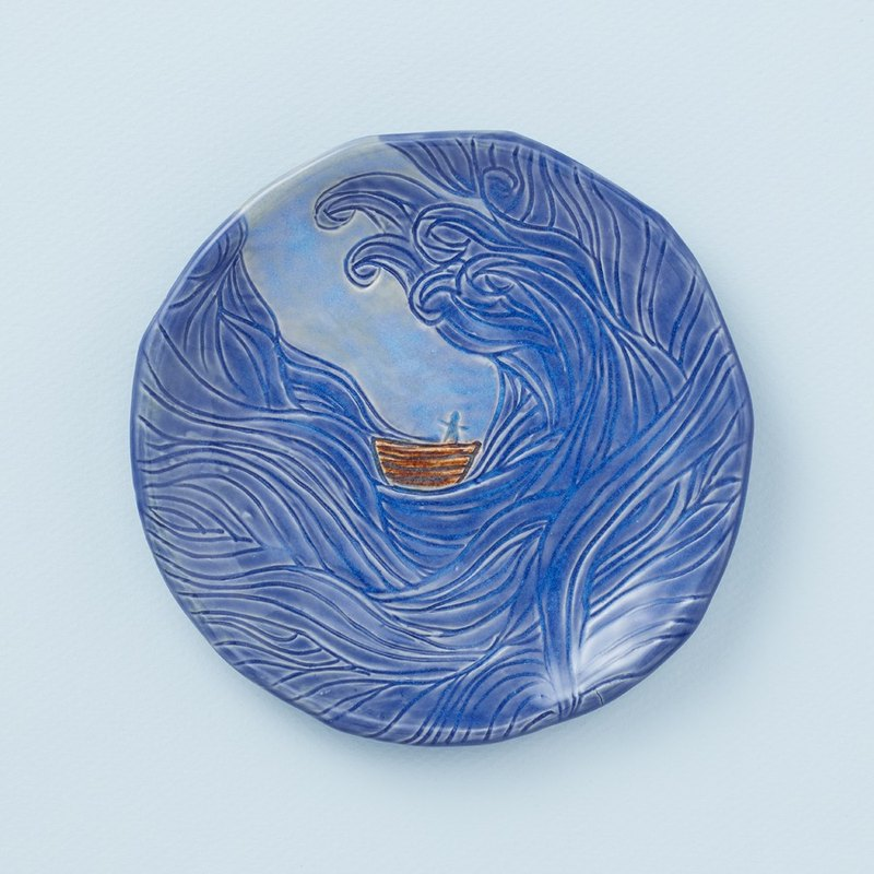 "Hand made pottery - ""Peace in the storm"" small disc"