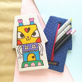 Handmade Hand paint Love Factory cat house pencil case beauty bag storge bag