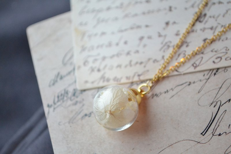 White Dried Flower in Glass Globe Necklace