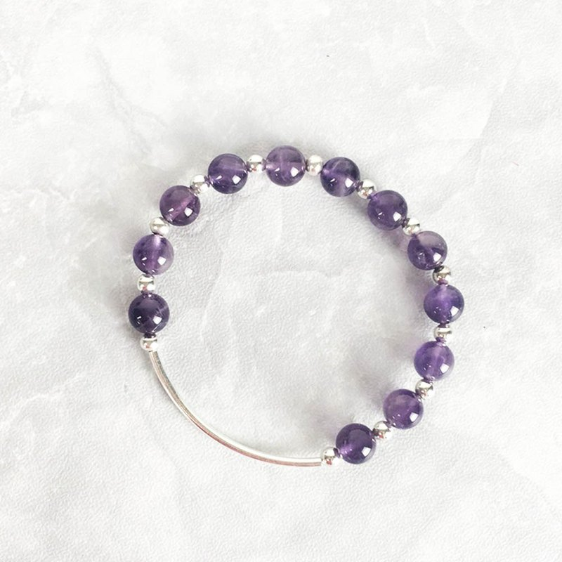 | Bend Series | Charm Amethyst (S925 Sterling Silver x Bracelet x Handmade x Customized.)