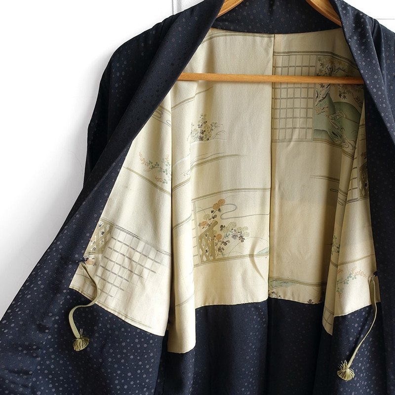 │Slowly │ Japanese antique - light kimono long version of the coat O1. │ ancient. Vintage. Retro.
