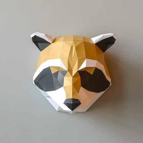 3D paper model _ Raccoon wall decoration _DIY Kits_ hand-made combination