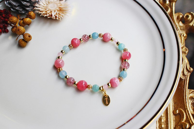 <Slow temperature natural stone series> C1165 Persian jade strawberry crystal bracelet