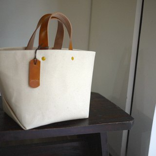 Leather Handle Bag (Small) - Natural White