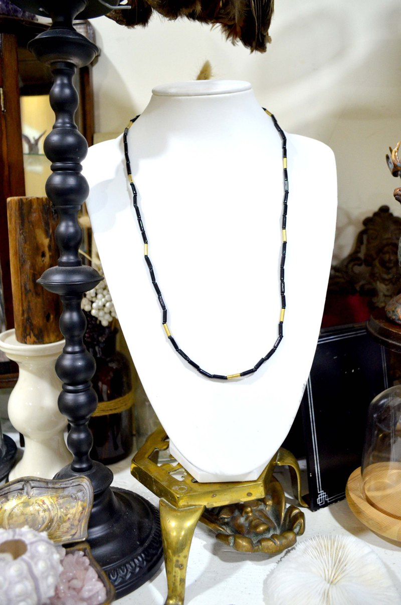 Super beautiful black gold tubular beads vintage necklace noble and elegant Japanese used antique jewelry vintage