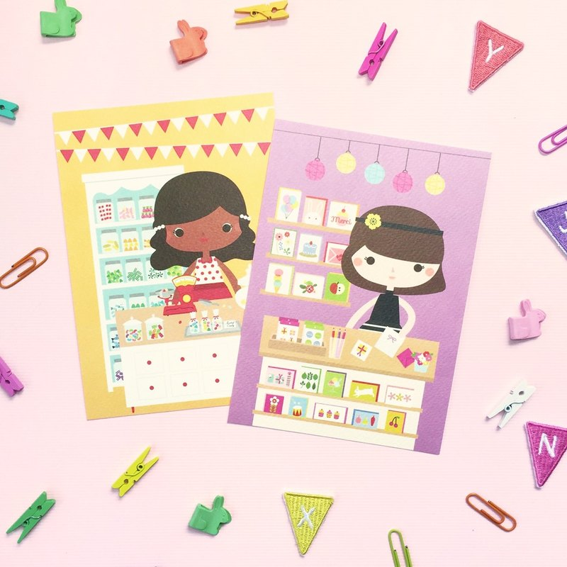 [Girls and Their Shops] mandy's candy shop + sophia's card store - Postcard Set