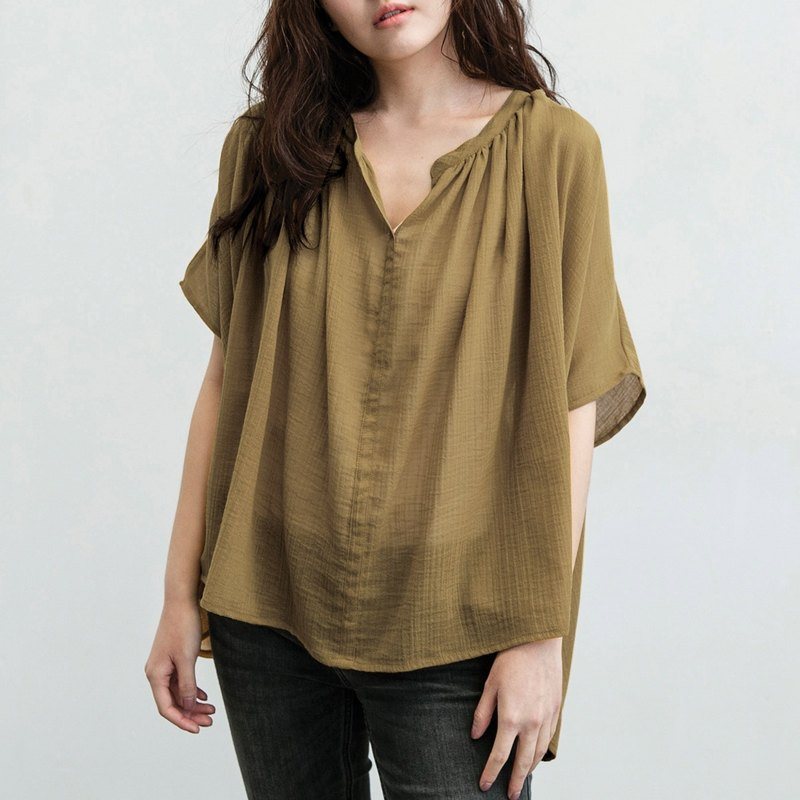 Rectangular Fine Blouse - Khaki