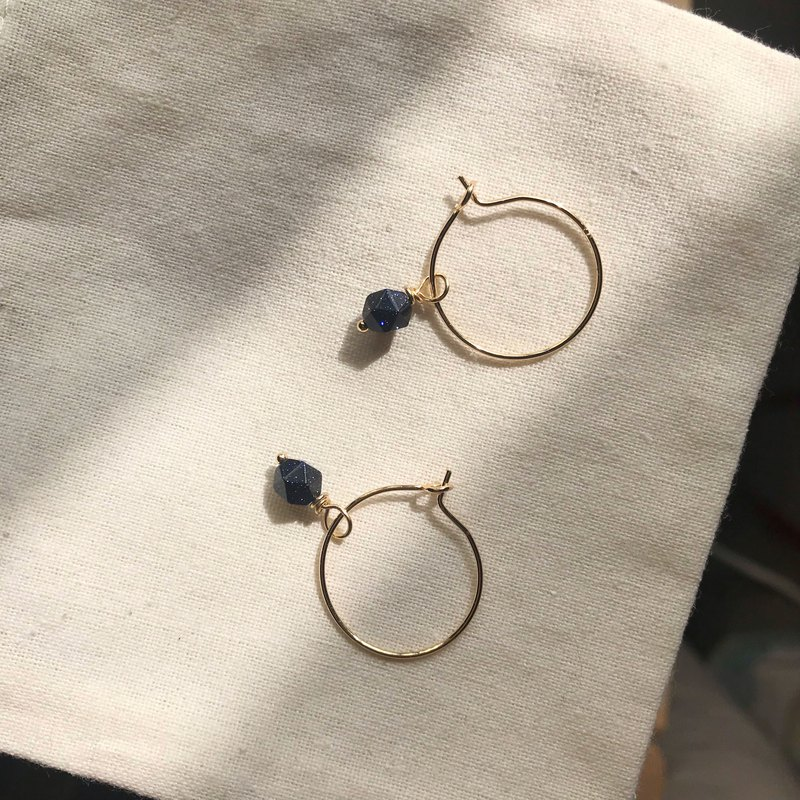 Classic Blue Wrapped Gold C Hoop Earrings Lucky Blue Sandstone Natural Stone Dangle Winding Earrings