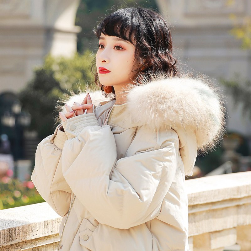 2019 winter new white duck down jacket female detachable mule fur collar fashion