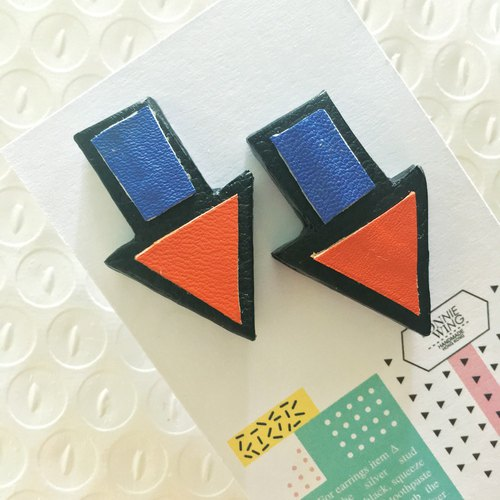 Sonniewing's Arrow Sign Stud Leather Earrings