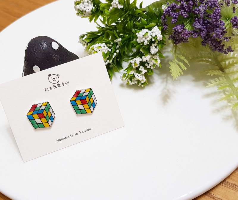Rubik's cube magic square ear earrings ear clip