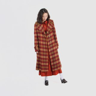 [Egg plant ancient] autumn fruit puree on the plaid woolen vintage coat