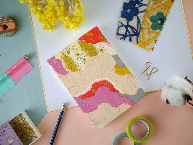 珊瑚色紋理-A6手工筆記本/手帳/日記本/相簿/日誌/禮物