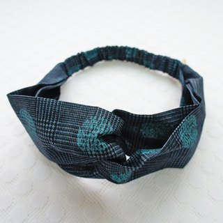 Lovely [Japanese cloth] vintage check dot butterfly elastic hair band, hair ring, blue black E