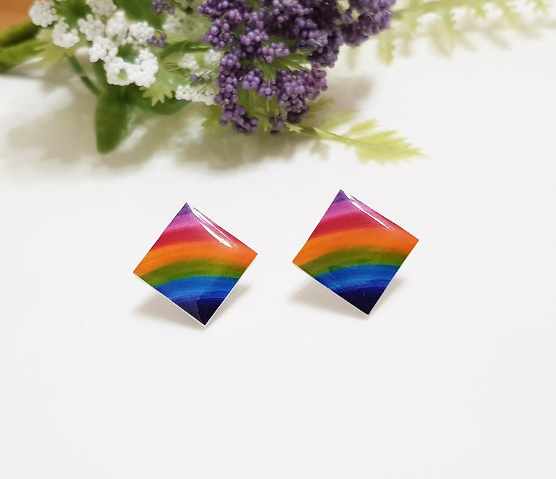 Rainbow spirit gradient rainbow earrings ear clip