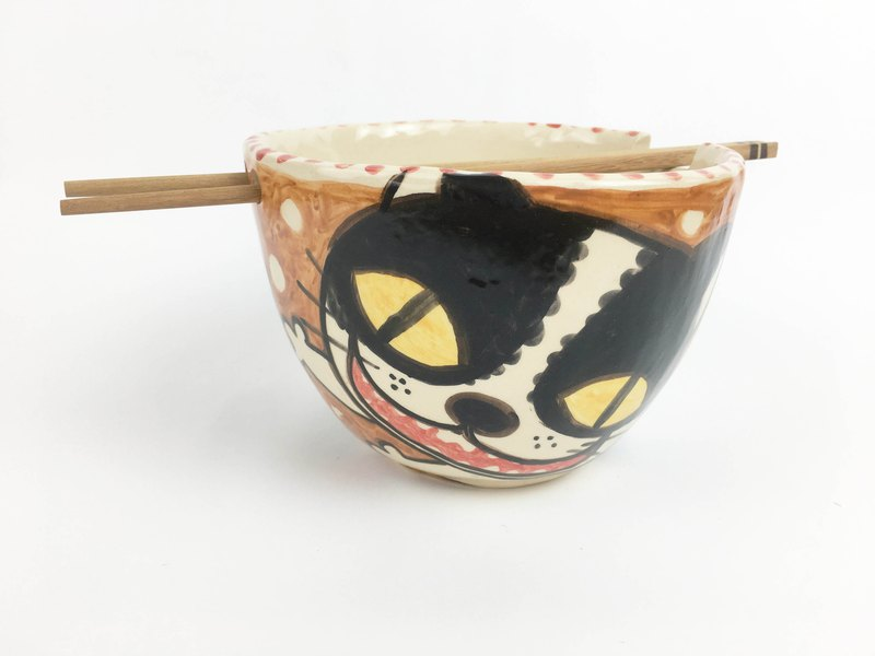 Nice Little Clay Handmade Bowl_Happy Cat 0201-07