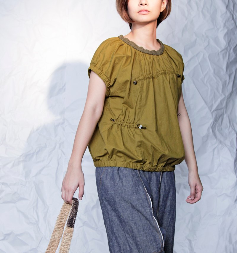 Light_Lily Light Asymmetric Drawstring Top