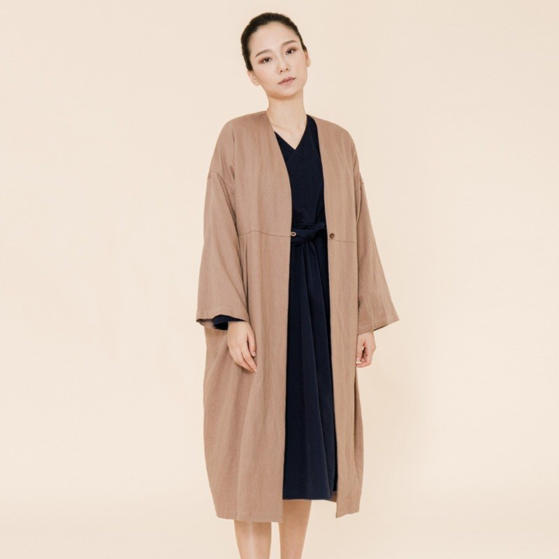 BUFU  Chinese-style oversized long jacket in cappuccino/unisex  O170601