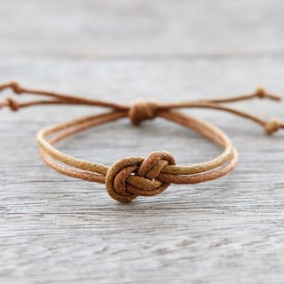 Infinity bracelet , waxed cotton cord bracelet in brown