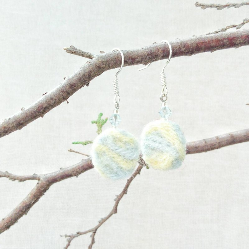 Handmade Felt Earrings with Swarovski Crystals (Clip-on Available)