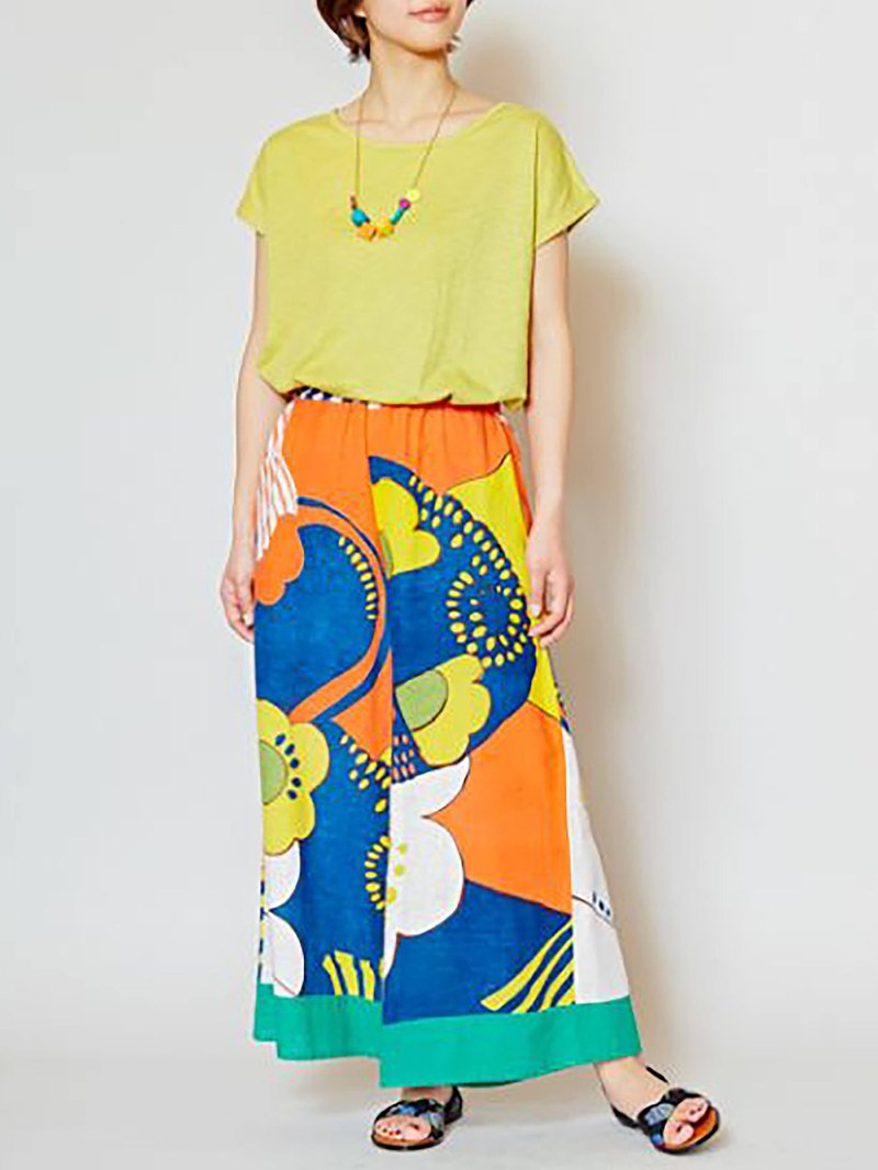 Pre-ordered printed wide pants (two colors) IAC-8508