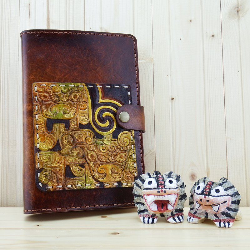 Handmade leather notebook book book book-cloud dragon figure (plus gift bookmark)