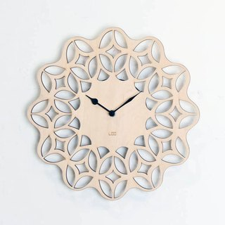 LOO wooden mute wall clock | 60s retro flower