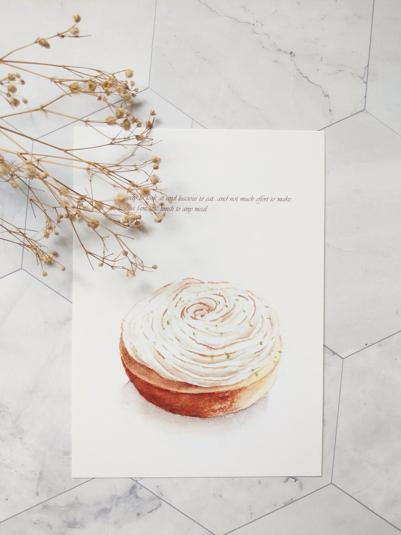 Delicious Watercolor Illustration Postcard - French Dessert - Rose Lemon Tower