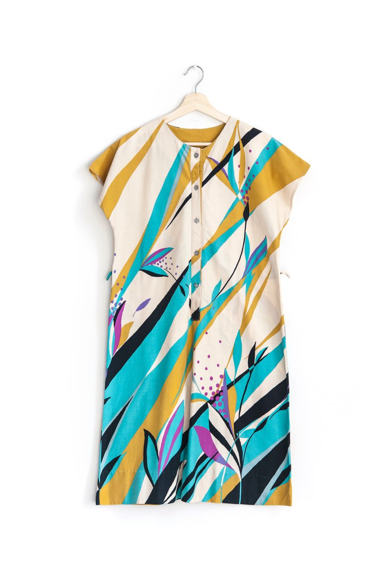 Vintage Geometric Color Cotton Vintage Short Sleeve Dress