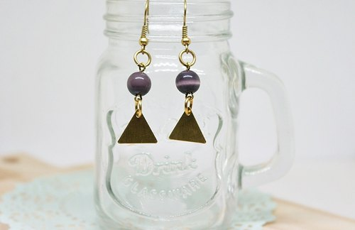 Brass X natural stone * fantasy capital * - hooked earrings