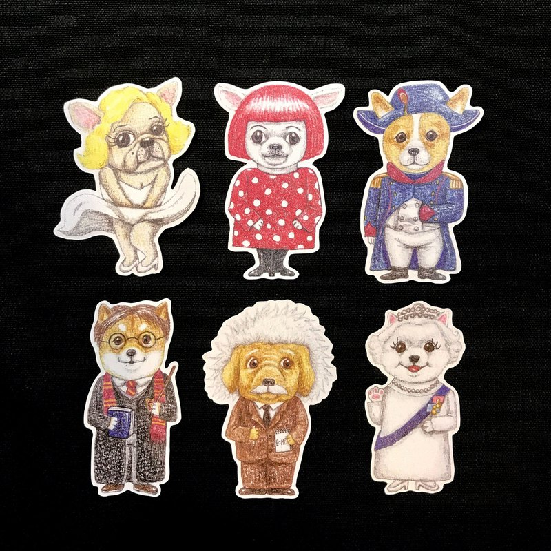 Color Pencil Hand Painted World Celebrity Dog Waterproof Stickers Set 6 Into