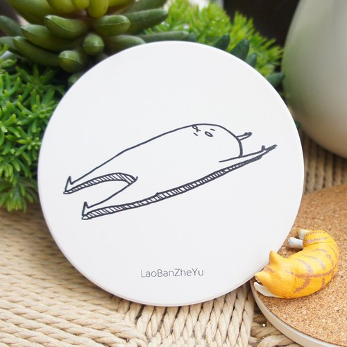 Boss this fish - life before the roll over [enjoy] ceramic absorbent coasters