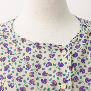 Vintage Japanese Purple Flower Rice Gray Short Sleeve Vintage Shirt Vintage Blouse