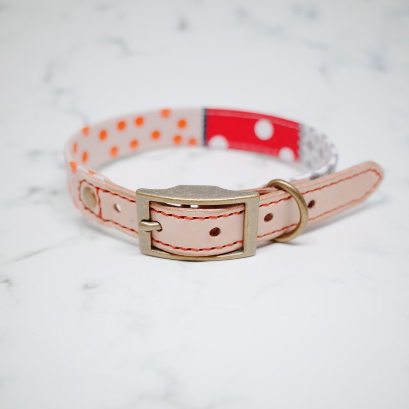 Dog collars, M size, French style with dots, Red & Orange_DCJ090443