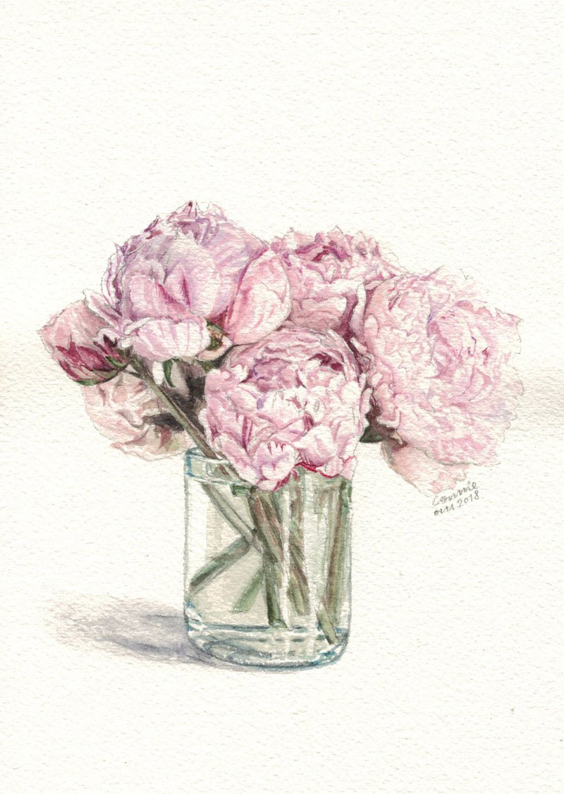 Original Watercolour Painting (A5) - Peonies