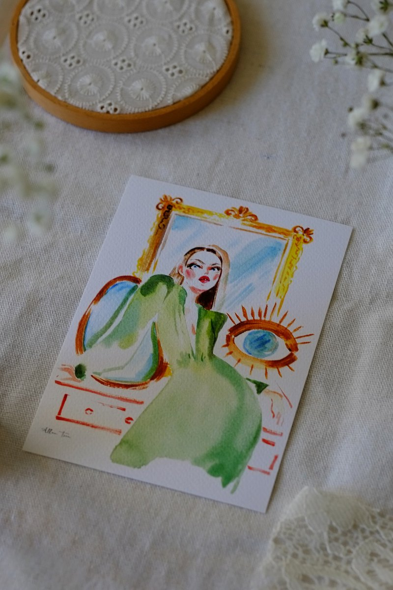 Fashion illustration-postcard in front of the mirror